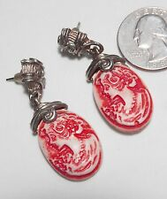 Unusual Red & Cream Molded Cameo Pierced Earrings, Ornate GT Cap, Dangle 1.25""