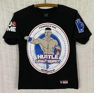 John Cena WWE Authentic Boy's Large HLR NEVER GIVE UP Black Short Sleeve T-Shirt