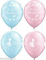 "11"" Christening Communion Latex Balloons Happy Party Decorations Pink Blue Baby"