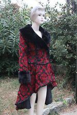 Manteau Redingote DRACULA CLOTHING  RED QUEEN Goth Gothique Rouge Noir XL  - 2XL