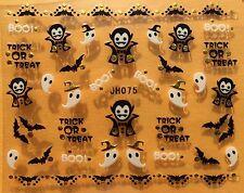 Nail Art 3D Decal Stickers Halloween Ghost Dracula Bat Trick or Treat Boo JH075