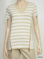 Nwt Michael Kors Stretch Cotton Zip Sides V-Neck Short Sleeve Top Tee Oatmeal S