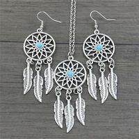 Bohemian Dreamcatcher Leaves Feather Pendant Necklace Earrings Jewelry Set FL