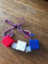 Red, white, & blue Blocks Rattle Baby Toy handmade plastic canvas needlepoint
