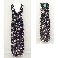 H&M Conscious Maxi Long Dress 10 Black V Neck DOUBLE SPLIT Semi Sheer Summer NEW