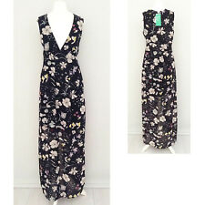 H&M Conscious Maxi Dress 10 Black DOUBLE SPLIT Floral Semi Sheer V Neck NEW NWT