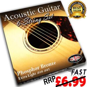 10-47 ACOUSTIC GUITAR Strings Set Phosphor Bronze Steel Core Extra Light ADAGIO