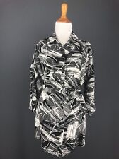 Linen Tunic M Womens Black White Belted Tunic Mini Dress EAST FIFTH Top