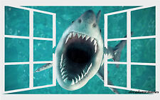 Shark Broken Window View Repositionable Color Wall Sticker Mural 30x19