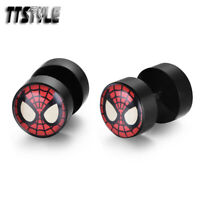 TTstyle 8mm Spiderman Clear Epoxy UV Acrylic Spike Earrings A Pair