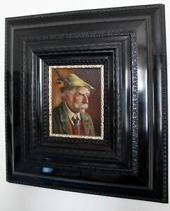 """"""" Walter Roessler """" Bild Öl-Gemälde Portrait Bayer mit Hut 44x41 cm Gerahmt"""