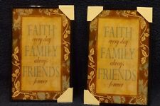"""Set of Two Framed Pictures """"Faith Family Friends"""""""