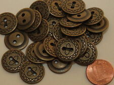 """12 Antiqued Brass Tone Metal Buttons 11/16"""" 18mm # 5039"""