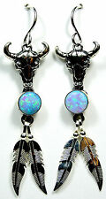 Blue Fire Opal 925 Sterling Silver Bull Head & Feather Earrings - made in USA