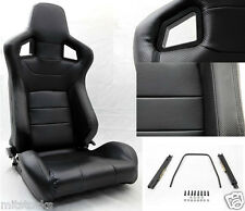 2 BLACK PVC LEATHER CARBON LOOK TRIM RACING SEAT RECLINABLE + SLIDERS TOYOTA *