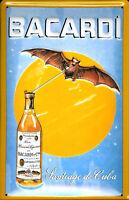 Bacardi Bat against Moon embossed steel sign 300mm x 200mm (hi)
