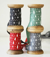 Grosgrain CHRISTMAS TREE Ribbon Berisfords 15mm Country Chic 1,2 or 3 metres