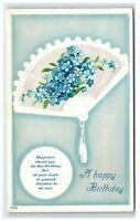 Postcard A Happy Birthday fan floral fan blue embossed C53