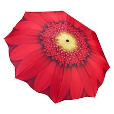 Galleria Red Daisy Folding Umbrella Automatic Open Close Compact Floral Brolly