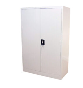 Steel Office Storage Cupboard 2 Door 140cm Lockable Bookcase Filing Cabinet