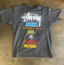 marvel stussy logo tee medium gray