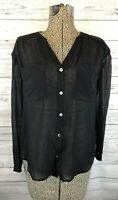 AG ADRIANO GOLDSCHMIED 100% Silk Top Button Down Blouse Black Size Xs Sheer