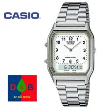 Casio Unisex AQ-230A-7BMQYES Analogue Digital Watch Silver Band Combi RRP£40 WoW