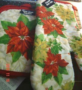 CHRISTMAS Holiday 3 Set Kitchen Oven Glove & 2 Pot Holder Cotton Poinsettia RED