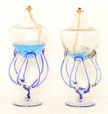 Pair of Abstract Blown Glass Pedestal Oil Lamps Free Form Blue Swirl VTG Art
