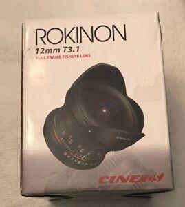 Rokinon DS12M-N 12 mm T3.1 Full Frame Fisheye Lens in Box w/ manual & pouch
