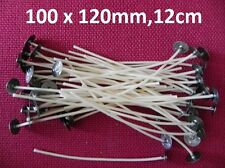 100 x 120mm / 12cm Long Pre Waxed Wicks For Candle Making with sustainer`s