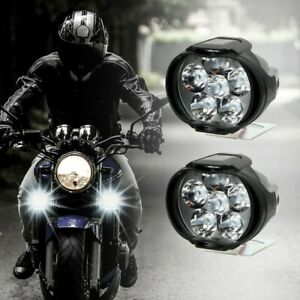 2Pcs 12V 8W-LED Motorcycle Motorbike Fog Spot Lights Headlight Driving Lamp-UK