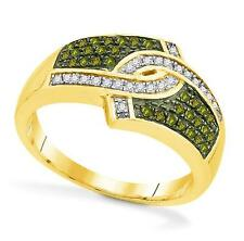 10K Yellow Gold Green & White Diamond Ring .33ct Gold & Diamond Statement Band