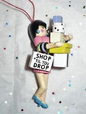 VINTAGE CHRISTMAS WOOD WOMAN-SHOP TILL YOU DROP TREE ORNAMENT CUTE