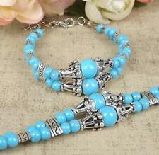Ladies Jewelry Tibetan Silver Bracelet Blue Bead Bangle Woman Bracelet B98