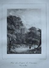 Vue Donjon Vincennes CHARLES CONSTANS LITHOGRAPHIE d apres ARNOUT Gravure 1823