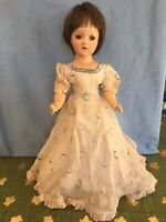 Rare Vintage 1930s Mollyes Teenage Composition Doll In Original Tagged Dress