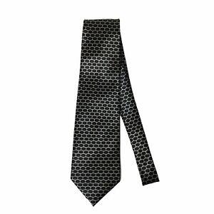 """Jatala 9 Mens Tie Necktie Black Gold Honeycomb Design 100% Silk 57"""" x 4"""" NEW"""