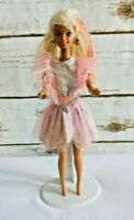 """MATTEL BARBIE Blonde Hair Blue Eyes Pink Dress Outfit 12"""" Tall Used Free Ship"""