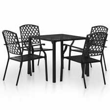 vidaXL Outdoor Dining Set 5 Piece Steel Black Mesh Garden Table Stacking Chair