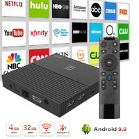 Android 9.0 Smart TV Box 64G Quad Core 4K HD 5.8GHz WiFi Media Player Led Time