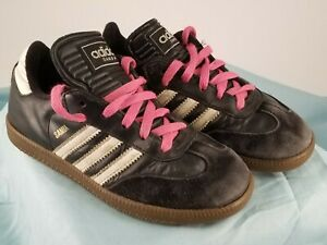 ADIDAS 2007 Youth Black White Pink Laces Samba Indoor Soccer Shoes Youth US 1