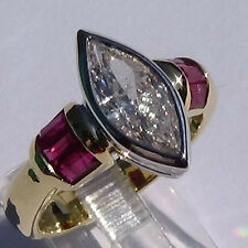 2.59ct Marquise cut DIAMOND & RUBY ring 18K SOLID GOLD US size 7.5 G I1
