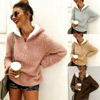 Women Plush Hoodie Coat Long Sleeve Jumper Tops Hooded Sweatershirt Outwear c998