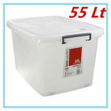 55Lt STORAGE TUB BOX CONTAINERS HEAVY DUTY ROLLER WHEEL LIDS CARRY HANDLES
