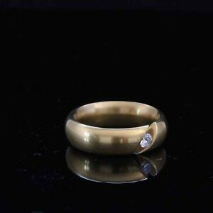 18ct yellow gold ring with 1 diamond 0.12ct Tension ring made by Niessing German