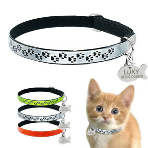 Reflective Elastic Personalized Cat Collar & ID Name Tags free Bell for Kitten