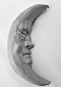 "Handmade 10"" Crescent Moon, Signed Wall Sculpture Art for Home or Garden Decor"