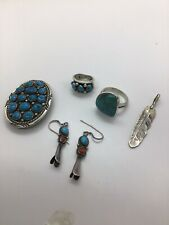 Job Lot Of Sterling Silver Turquoise Navajo Jewellery Ring Earring Ext