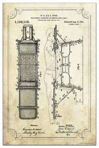 Vintage Chiropractic Table Patent Art Print 11x17 Palmer College Wall Decor